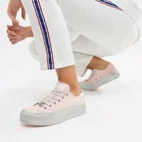 Converse X Miley Cyrus Chuck Taylor All Star Platform Sneakers In Pink And Silver Glitter at asos.com
