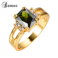 Bamos Male Female Peridot Geometric Ring Fashion Yellow Gold Filled Jewelry Vintage Wedding Rings For Men And Women