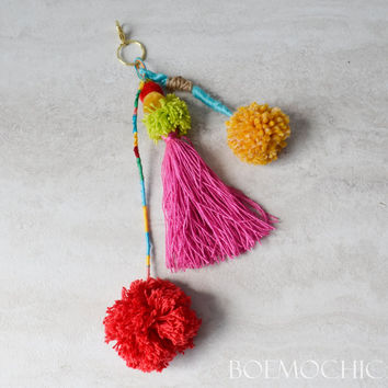 Hand Crafted Purse Charm / Perfect for Louis Vuitton Neverfull / Pom Pom Purse Charm / Tibetan / Festival Chic / Bohemian Style