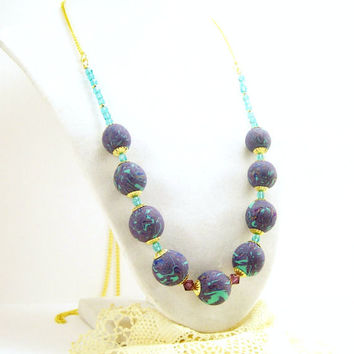 Blue and Aqua Beaded Neklace / Polymer Clay Jewelry