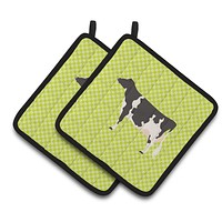 Holstein Cow Green Pair of Pot Holders BB7648PTHD