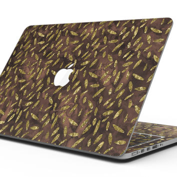 Brown and Gold Leaf Pattern - MacBook Pro with Retina Display Full-Coverage Skin Kit