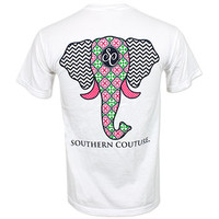 Southern Couture Elephant T-Shirt - White