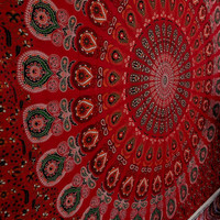 Red peacock feather tapestry mandala wall hanging table cloth indian tapestries dorm tapestry bohemian tapestry