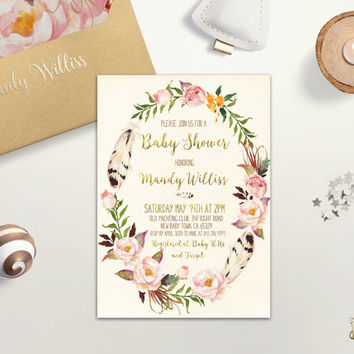 Floral Wreath Baby Shower Invitation Printable Boho Baby Shower Invite Girl Baby Shower Gold Foil Spring Baby Shower Invite DIY Digital File