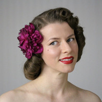 "Fuchsia Hair Flower, Peony Fascinator Clip, 1950s Floral Hair Accessory, Berry Pink Headpiece, Vintage Magenta, Pinup - ""Scent of Merlot"""