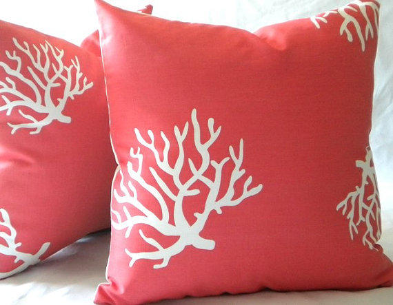 Decorative Throw Pillow Cover Coral And From Mica Blue Design