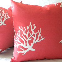 Decorative throw Pillow Cover Coral and White indoor outdoor beach 20 x 20