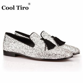 COOL TIRO men Silver Sequined Cloth Loafers Luxury Slippers Shoes Smoking Loafers
