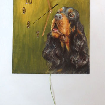 GORDON SETTER DOG, Funny Wall Clock, Painted clock, Original oil painting, Hand painted, Pet portrait, Unique, Green, Gold, Wall decor