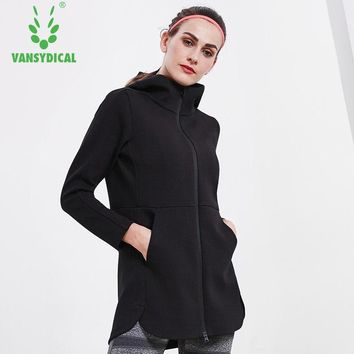 Vansydical Training Jackets Women Zipper Running Gym Clothes Autumn Winter Yoga Sportswear Female Workout Excise Jackets XXL