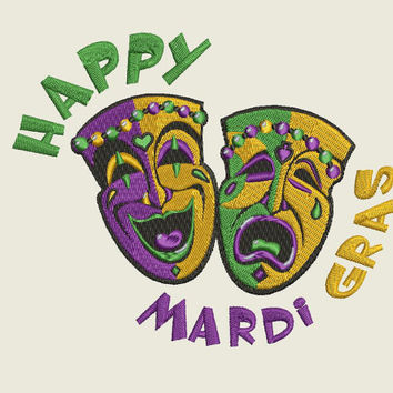 MARDI GRAS Comedy & Tragedy Masks Embroidery Design 5x7  8 Formats Instant Download