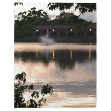 Fountain Sunset on the Lake Jigsaw Puzzle
