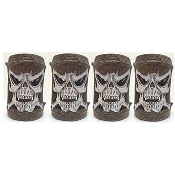 Homestyles Friki Tiki #11302 4 Piece Set of Scary Skull Flashing Multi-Color Glowing Table Top or Path Lighting