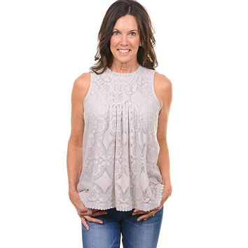Gray Lace Sleeveless Top