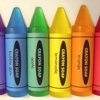 Crayon Soaps 6 Pc Scented Colorful Bath Body Shower Kids Children Toddler School