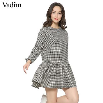 Women oversized pleated plaid dress ruffles checkered long bow tie sleeve loose back buttons thick warm casual vestidos QZ2726