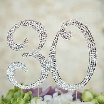 30th Birthday Crystal Rhinestone Cake Topper Anniversary Party Monogram