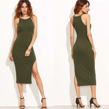 Sexy Army Green Elasticity Spaghetti Strap Dress