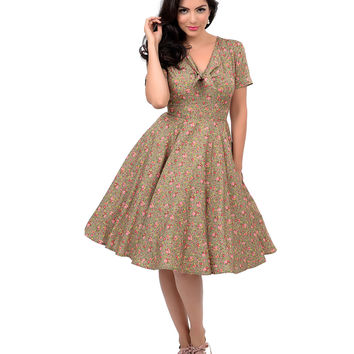 Hell Bunny 1940s Style Green & Pink Floral Short Sleeve Louise Swing Dress