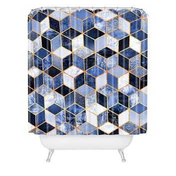 Elisabeth Fredriksson Blue Cubes Shower Curtain