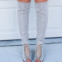 Wonderland Lace Up Grey Heels