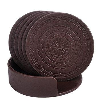 Coasters for DrinksPU Leather Coasters Set of 6 with Holder for Coffee Tea Cups Mugs Round Brown