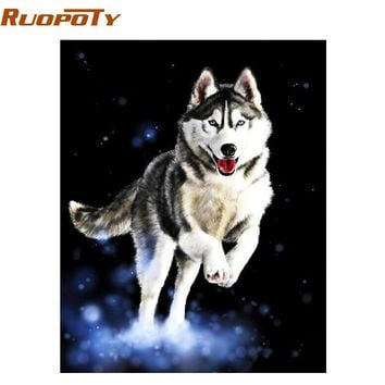 RUOPOTY Frame Huskies Animals Diy Painting By Numbers Hand Painted Modern Wall Art Oil Painting For Home Decor Artwork 40x50cm