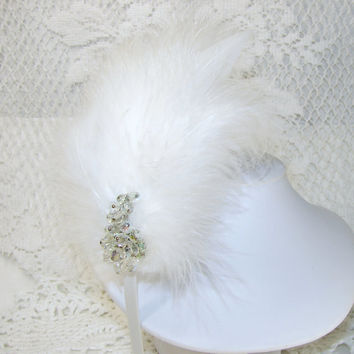 Flapper Feather Headband 1920s Style Hairpiece Vintage Crystal Jewelry White Wedding Burlesque Theater Gatsby Fascinator
