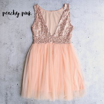 sugar plum dazzling rose pink sequin darling party dress - peachy pink
