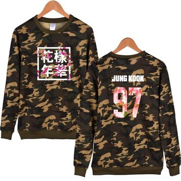 2017 Bts Kpop Hoodies Sweatshirt Adventure Time Bts Kpop Bts Light Pullovers Youth Mood Camouflage Cap Harajuku Letter Xxs-4xl