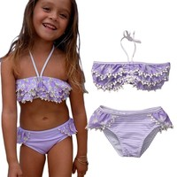 Purple Strip Floral Baby Girls Kid Off Shoulder Apparel Ruffle Swimsuit Bathing Suit Strappy Swimwear Tankini Bikini 1-5Y