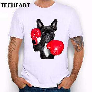 Cool New Retro Men's funny Bulldog Print T shirt Summer Hipster Graphics Top Tees