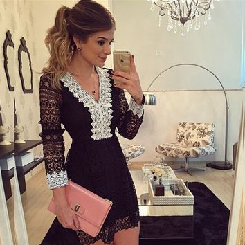 Black And White Dress Lace V Neck Dress