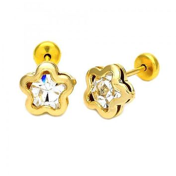 Gold Layered Stud Earring, Star Design, with Crystal, Gold Tone