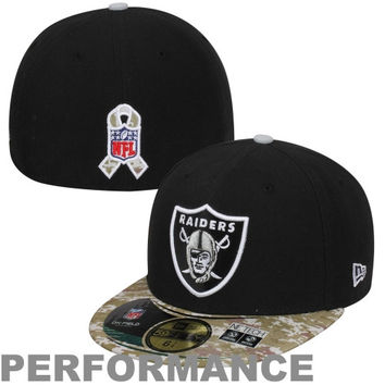 New Era Oakland Raiders Salute to Service On-Field 59FIFTY Fitted Hat – Black/Digital Camo