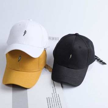 New Unisex Embroidered Lightning Snapback Baseball Cap Dad Gorras Yellow Adjustable Sun Trucker Hats Bone Casquette