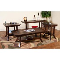 Sunny Designs Santa Fe Collection Four Piece Living Room Table Set In Dark Chocolate 3175DC