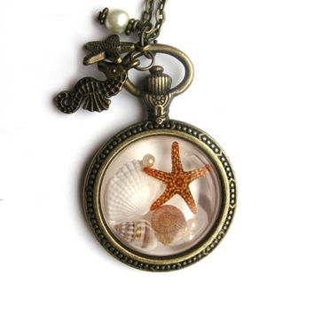 Beach Necklace - Real shells and starfish in Resin - Nautical Pendant - Ocean Life Necklace - Beach Pendant - Pocket Watch Open Back Bezel