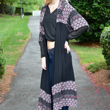 Call it a Night kimono, black
