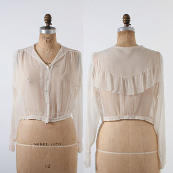 EDWARDIAN Silk BLOUSE / 1910s Sheer Ivory Ruffled Sailor Collar Loose Fit Cropped Top S - M