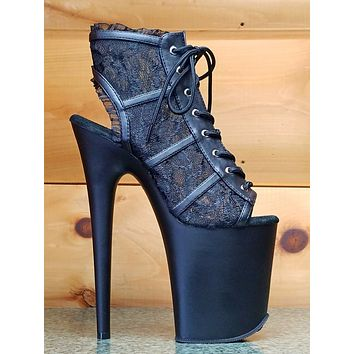 "Flamingo 896 Black Lace Platform Shoe 8"" Heel Open Toe Ankle Boot Size 10 NY"