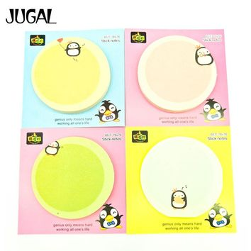 JUGAL 24pcs/lot Cute Kawaii Dan Penguin Round Memo Pad Sticky Notes Memo Notebook Stationery Note Paper Stickers School Supplies