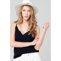 Lace cami top in black
