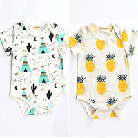 2016 Newborn Kids Baby Boys Girls Infant Fruit Cute Summer Jumpsuit Bodysuit Clothes Outfit Summer Clothing