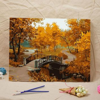new Latest gift craft Frameless diy oil painting Landscape Autumn acrylic paint wall painting tower from the digital Home decor