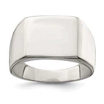 925 Sterling Silver 12x14mm Closed Back Signet Ring