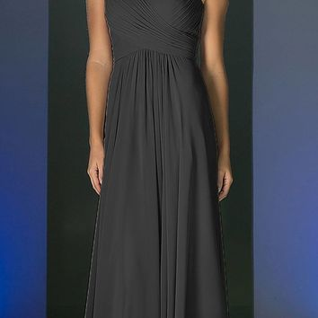CLEARANCE - Black Long Formal Dress V-Neck Pleated Bodice Empire Waist (Size 4)