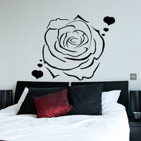 Flower Wall Decals Rose Hearts Love Flowering Blossom Stickers Living Room Decor Vinyl Decal Sticker Art Mural Bedroom Kids Room Decor MR316