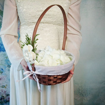 Flower girl basket burlap lace sola flower ivory green brown rustic woodland summer spring wedding vintage custom